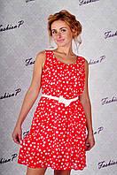 Платье горох GE-318 (красный), фото 1