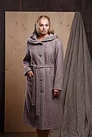 """Женское кашемировое пальто с капюшоном из вареной шерсти больших размеров """"Симона"""""""