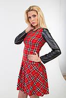 Платье женское  клетка с кожаными рукавами