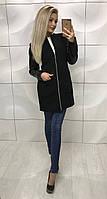 Женское черное кашемировое пальто с рукавами с еко кожи