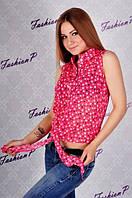 Блуза женская  летняя из шифона с рисунком звезды