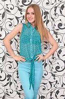 Блуза женская летняя из шифона с рисунком якоря