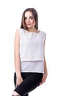 Блуза  без рукавов из прошвы