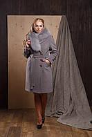 """Женское зимнее кашемировое пальто с мехом больших размеров """"Алсу"""""""