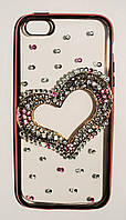 Чехол на Айфон 5/5s/SE Хром 3D ТПУ Сердечко с камнями Прозрачный Розовое Золото
