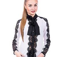 Блуза  женская с бантом- галстуком и  кружевом