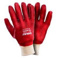 Перчатки трикотажные с ПВХ покрытием (красные манжет) Sigma (9444361)