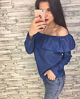 Женский джинсовый топ с длинным рукавом
