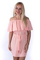 Платье женское с открытыми плечами свободного кроя с поясом