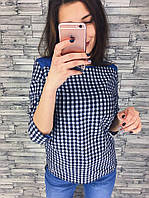 Блуза женская в клетку рукав три четверти
