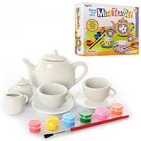 Набір для творчості: чайний сервіз, 2 чашки з блюдцями, чайник, молочник, фарби