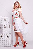Белое платье нарядное с красными цветами, со съемной шифоновой юбкой, XL XXL XXXL