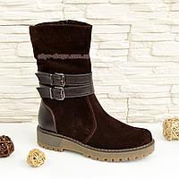 Ботинки замшевые коричневые женские зимние на утолщенной подошве. 37 размер