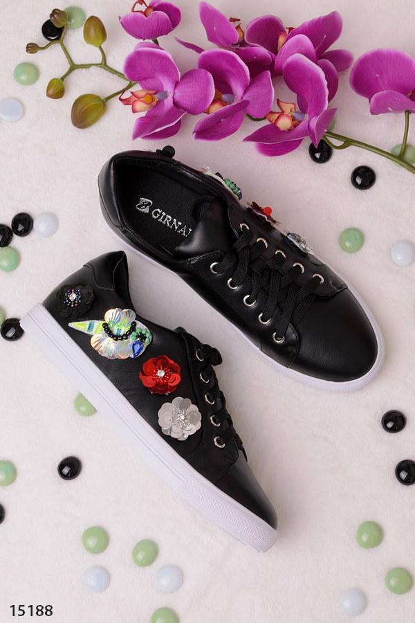 Женские кеды кроссовки с пайетками черные эко кожа