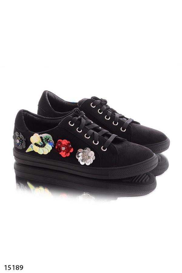 Женские кеды кроссовки черные с пайетками эко кожа