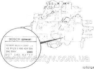 Местоположение паспортной таблички насоса Robert Bosch VE