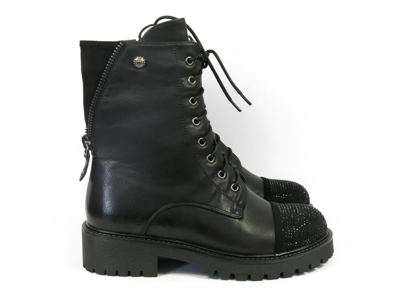 Стильные женские высокие ботинки на шнурках