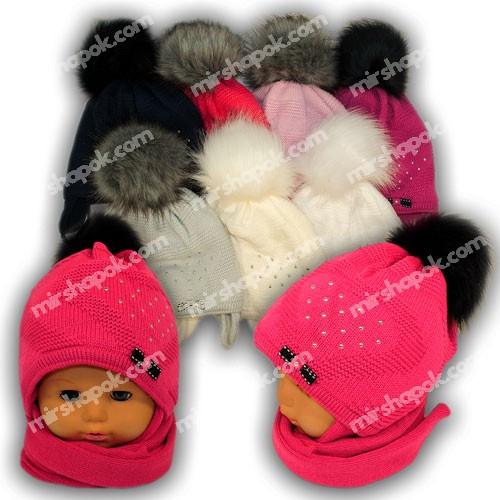 Детский комплект - шапка и шарф для девочки, A724ST, Grans (Польша), утеплитель Softi Term