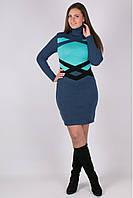 Теплое вязанное платье Катерина джинс - мята