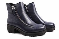 Ботинки женские Polann натуральная кожа, цвет синий (ботильоны, каблук, зима)