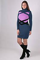 Красивое вязанное платье Катерина джинс - сирень
