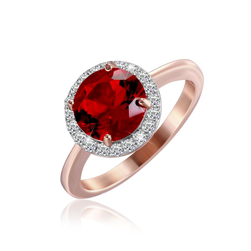 """Позолоченное кольцо с имитацией рубина """"408"""""""