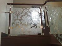 Стеклянные перила с рисунком