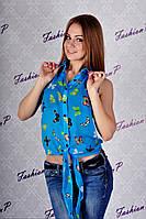 Рубашка с бабочками GE-324 (голубой), фото 1