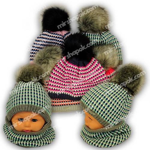 Детский комплект - шапка и шарф (хомут-капор) для девочки, A798F, Grans (Польша), утеплитель Softi Term