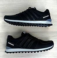 Мужские кроссовки натуральная кожа черный