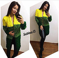 Вязаный женский кардиган в стиле Лало меланж трехцветный желтый + зеленый