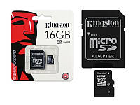 Карта памяти microSD Kingston 16 Gb 10 Class + адаптер