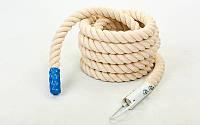Канат спортивный для лазанья с креплением (хлопок, l-3 м, d-4,5 см, белый)