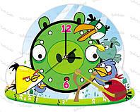 """Часы детские оргстекло """"Злые птички"""""""