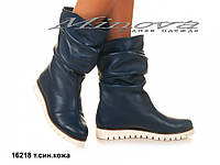 Ботинки женские №16218-т.син.кожа