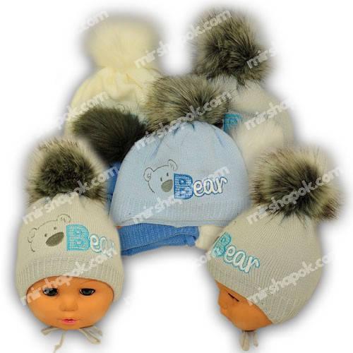 Вязаная шапочка на завязках для новорожденных, N114ST, Grans (Польша), утеплитель Softi Term