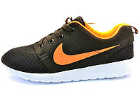 Мужские кроссовки Nike Roshe Run (черно - оранжевые) N17