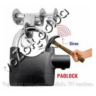 Навесной замок со встроенной системой сигнализации и сиреной Alarm Lock 110 дБ, фото 1