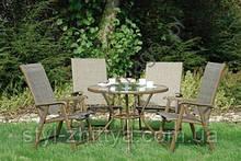 Комплект DALLAS. 4 крісла (скл.) + стіл з отвором для зонта