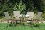 Комплект DALLAS. 4 крісла (скл.) + стіл з отвором для зонта, фото 4