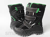 Зимние термо-ботинки для мальчика ТМ B&G черные 30-35р