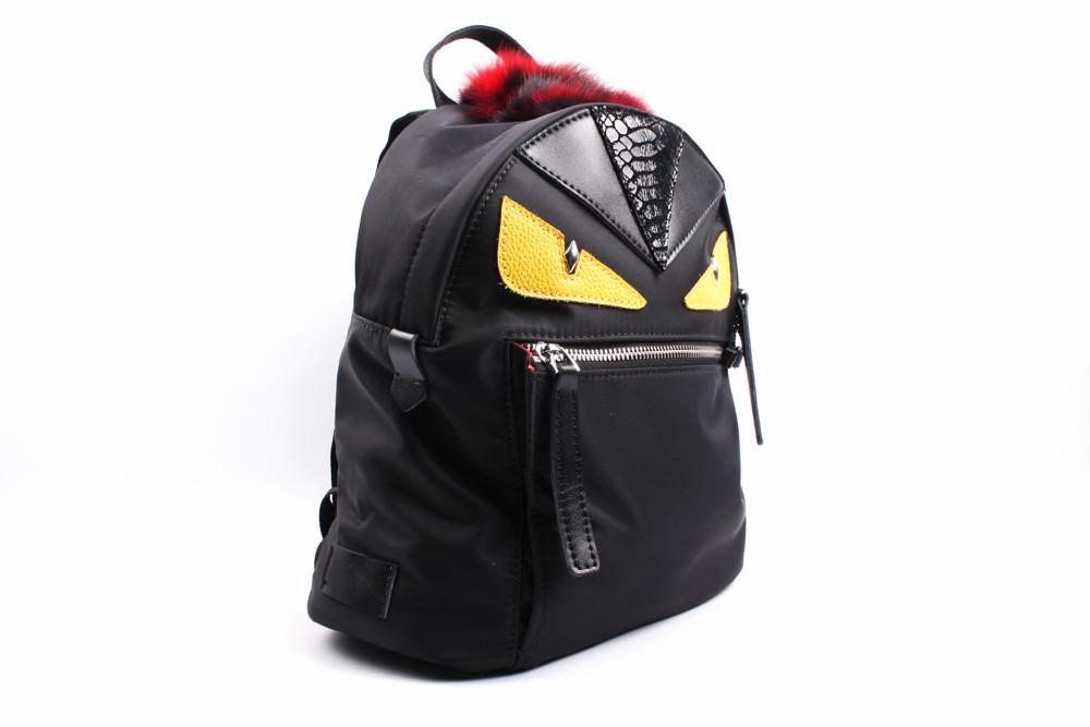 Рюкзак FENDI текстиль, цвет черный, размер средний, прямоугольная форма