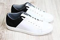 Мужские кожаные кеды белые с черным