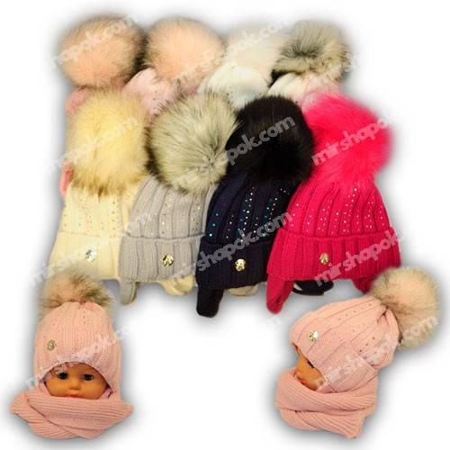 Детский комплект - шапка и шарф для девочки, 1267, Agbo (Польша), утеплитель флис