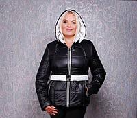 Женская осенняя куртка К 130 черная с белой отделкой