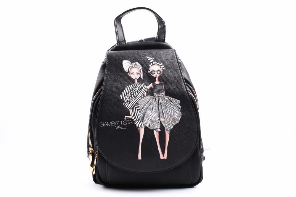 Элегантный рюкзак Sheng jiamei эко-кожа, цвет черный, размер средний, прямоугольная форма