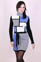 Женское вязанное платье Кубик серый - василек