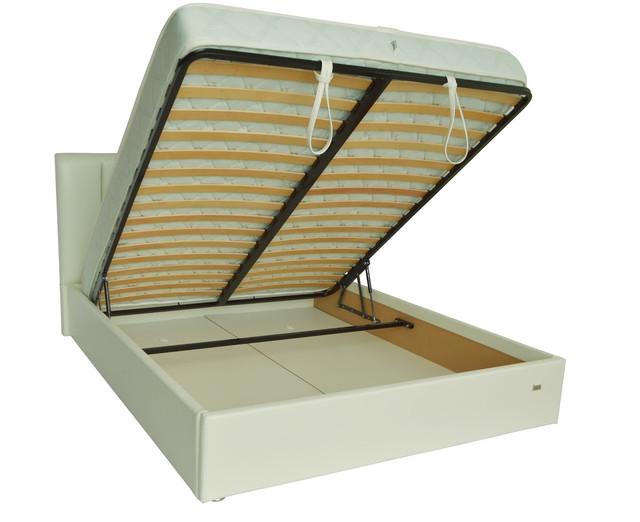 Кровать двуспальная Санам кожзам Лаки белый (фото 3)