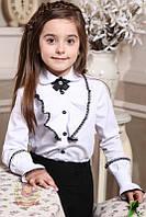 Белая блуза с жабо и съемным украшением в школу Милана школьная форма