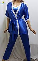 Пижама женская атласная, домашний костюм халат, майка, штаны, р.46-50, Украина
